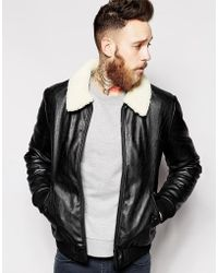 ASOS - Faux Leather Bomber Jacket With Faux Shearling Collar - Lyst