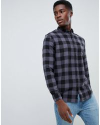New Look - Regular Fit Shirt In Grey Check - Lyst