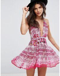 ASOS | Pink Snake Knot Waist Chiffon Beach Dress | Lyst
