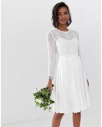 Ted Baker Платье С Кружевной Отделкой И Плиссированной Юбкой - Белый