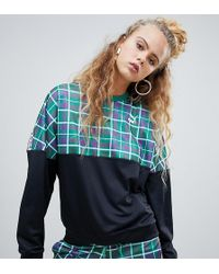 PUMA - Exclusive Recycled Polyester Green Check Sweatshirt - Lyst