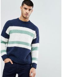 ASOS - Knitted Jumper With Blocked Stripes In Navy - Lyst