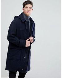 Mango - Man Hooded Wool Blend Coat In Navy - Lyst