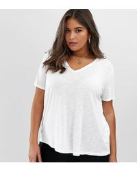 cfb8af060a9 ASOS - Asos Design Curve T-shirt In Longline Slubby Rib In White - Lyst