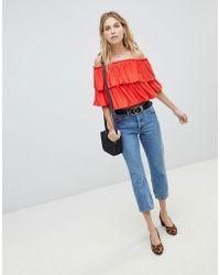 ASOS - Design Bardot Crop Top With Slinky Ruffle - Lyst