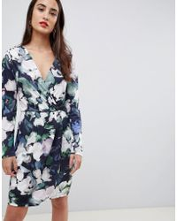 French Connection - Printed Jersey Wrap Dress - Lyst d8d2bc903