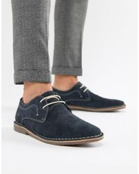 Red Tape - Yuma Desert Brogue Shoe In Navy Suede - Lyst