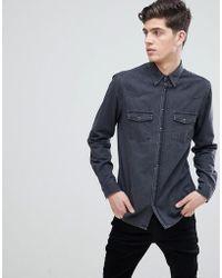 Mango | Man Slim Fit Denim Shirt In Grey | Lyst