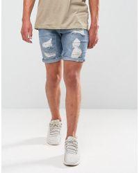ASOS   Denim Shorts In Skinny Mid Wash Vintage Blue Biker   Lyst