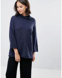 Soaked In Luxury - High Neck Sweater With 3/4 Sleeves - Lyst