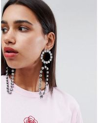 ASOS - Statement Earrings With Open Circle Shape And Strands In Crystal - Lyst