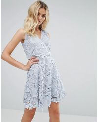 Amy Lynn - Occasion Lace Wrap Over Skater Dress - Lyst