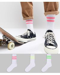 ASOS - Tube Style Socks With Neon Stripes 3 Pack - Lyst