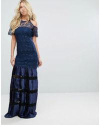 Body Frock - Bodyfrock Cold Shoulder Lace Maxi Dress With Pleated Skirt - Lyst