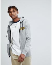 Volcom - Zip Through Hoodie With Logo In Grey - Lyst