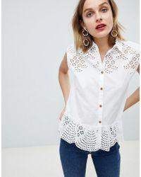 Mango - Broderie Peplum Shirt In White - Lyst