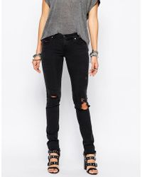 DIESEL - Skinzee Low Rise Super Skinny Jeans With Distressing - Lyst