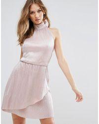 Oh My Love - High Neck Wrap Skirt Mini Dress - Lyst