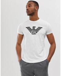 Emporio Armani - T-shirt avec logo aigle sur la poitrine - Blanc - Lyst