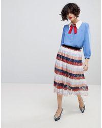 Essentiel Antwerp - Palms Midi Pleated Skirt - Lyst