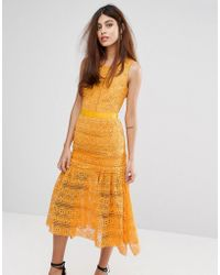 True Decadence - Midi Lace Dress With Frill Detail - Lyst