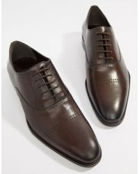 Dune - Brogues In Brown Hi-shine Leather - Lyst