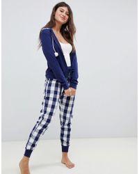 Boux Avenue - Navy Gingham Three Piece Pyjama Set - Lyst