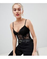 New Look - Lace Cami Body In Black - Lyst