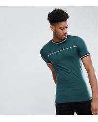 ASOS - Design Tall Muscle T-shirt With Tipping And Piping In Green - Lyst