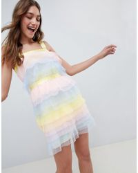 ASOS DESIGN - Tiered Mini Dress In Pastel Colourblock Tulle - Lyst