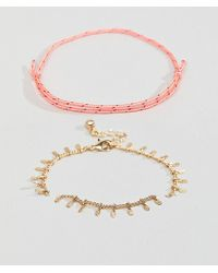 ASOS - Design Pack Of 2 Colour Pop Woven And Stick Chain Bracelets - Lyst