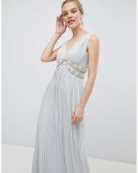 ASOS - Design Pleated Maxi Dress With Embellished Trim - Lyst