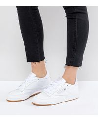 7aad6b3cff84a Reebok - Classic Club C 85 Trainers In White Leather With Gum Sole - Lyst