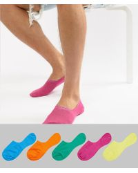 ASOS - Design Invisible Liner Socks In Brights 5 Pack Save - Lyst