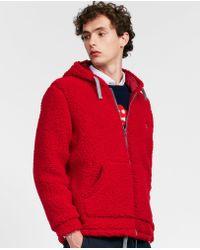 Aspesi - Hooded Zip Up Wool Blend Fleece Sweatshirt - Lyst