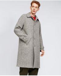 Aspesi - Macro Herringbone Wool Coat Perturbato - Lyst