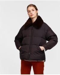 Aspesi - Taffetà Down Jacket With Fur Collar Moka - Lyst