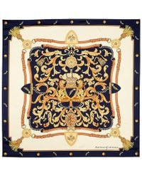 "Aspinal - Signature Silk Twill Scarf In Navy (27.5"" X 27.5"") - Lyst"