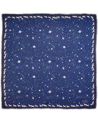 Aspinal of London - Ladies Versatile Midnight Blue Pegasus Constellation Cashmere Blend Scarf - Lyst