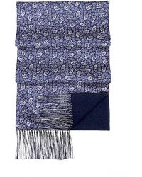 Aspinal of London - Double Faced Cashmere & Silk Paisley Scarf In Cobalt Blue - Lyst