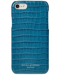 Aspinal of London - Ladies Blue And Green Leather Deep Shine Small Croc Iphone 7/8 Cover - Lyst