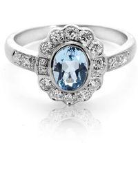 Aspinal of London - Ladies Exquisite Debutante Aquamarine & Diamond Ring - Lyst
