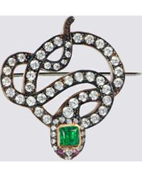 APPLES & FIGS - Black Serpent Brooch - Lyst