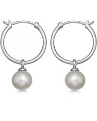 Astley Clarke - Vera Pearl Drop Hoop Earrings - Lyst