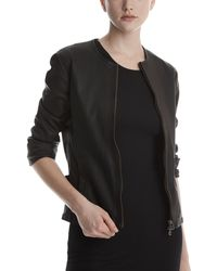 ATM - Collarless Leather Moto Jacket - Lyst