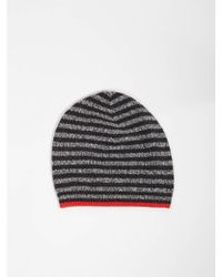 Bellerose - Gyha Stripe Hat In Charcoal, Grey And Red - Lyst
