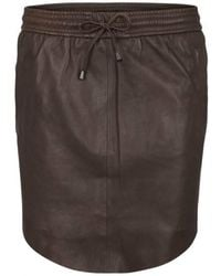 Second Female - Pril Leather Skirt Antracit - Lyst