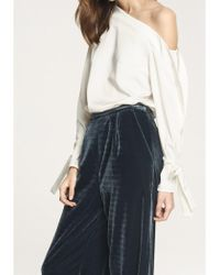 Paisie - One Shoulder Blouse With Tie Sleeve Details In White - Lyst