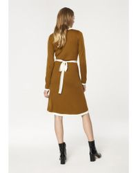 Paisie - Knitted Dress With Contrast Edges And Waist Ties In Mustard And White - Lyst