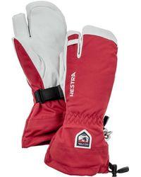 Hestra - Army Leather Heli Ski 3 Finger Glove Red - Lyst